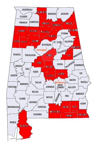Alabama Counties 70%+ Vote
