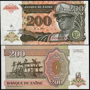 200 Noveaux  Zaires Zair 1994, P62