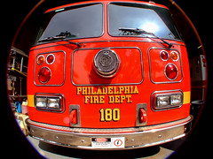 At the Ready (blonde_sage) Tags: philadelphia vivid naturallight fisheye firetruck pfd interestingness471 anawesomeshot cmwdred colourartaward vividmasters i500471