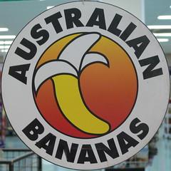 Australian bananas (Foot Slogger) Tags: food sign yellow fruit almostsquaredcircle signcity betros