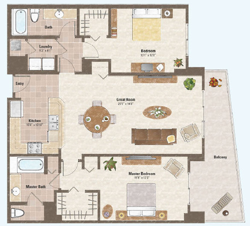 Two bed room condo floor plan 4