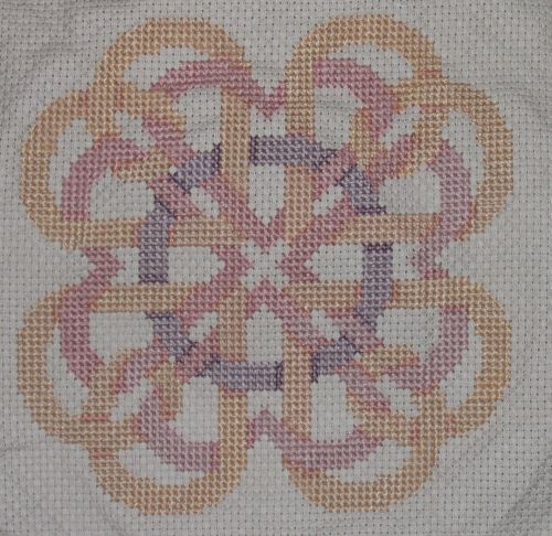 Intertwined hearts cross-stitch project