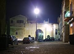 Arco d'Augusto di notte (nicolocanestrari) Tags: old italien trees italy streets rome roma alberi night dark lights italia 2000 flash centro case antica ex