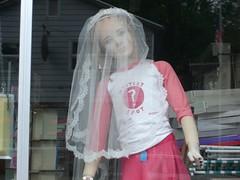 mystery spot child bride (justinsdisgustin) Tags: window shop mystery bride doll child veil spot manaquin