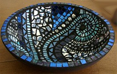 Blue Swirl Bowl (Carol Shelkin, Artist) Tags: blue color art philadelphia glass portraits beads artist foil mosaic fineart  mosaics bowl stained tiles pottery mirrored swirls pique assiette glassbeads commissions brokenplates flickrdiamond artistmama wwwcarolshelkinmosaicscom carolshelkin wwwcarolshelkinmosaiccom carolsoritzshelkin carolshelkinmosaics