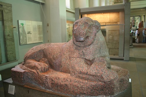 Red granite lion of Amenhotep III by nrares