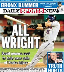 David Wright, New York Mets 3rd Baseman, 1st HR of 2008 Season, New York Daily News, 4-3-08