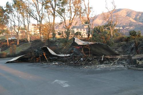 Burned-down trailer