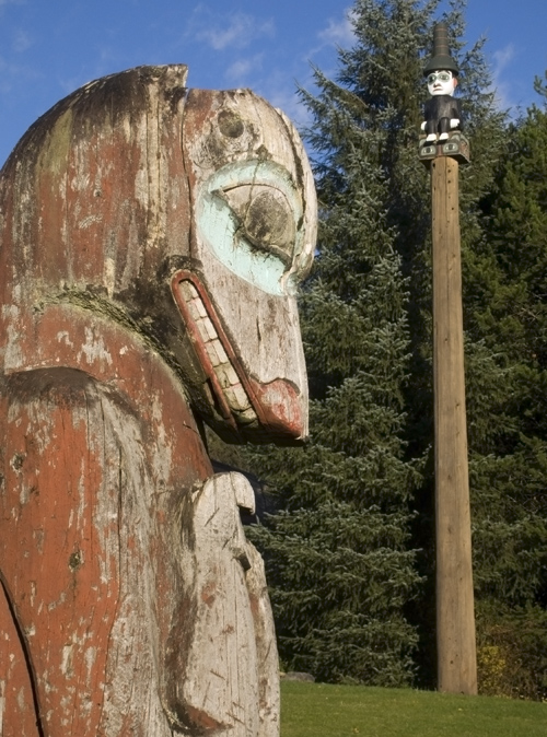 old and new totems, Saxman, Alaska
