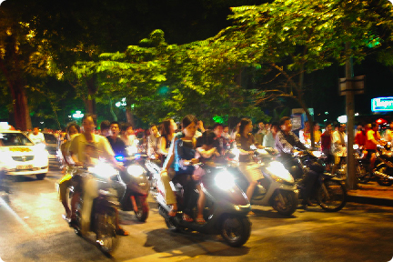 Hanoi hustling at night