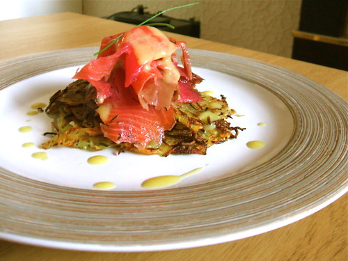 Smoked salmon with potato cakes
