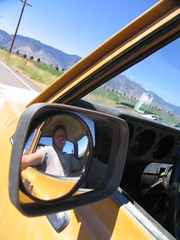 goin' to moonshine campground (kneesamo) Tags: camp mirror pickup convex 1973 datsun butterscotch moonshine 620 l20b bulletside convexed pl620