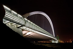 Ponte di Calatrava in RE - spalla [Calatrava bridge at a local highway exit - shoulder] (ecatoncheires) Tags: bridge santiago night puente interestingness highway arch shot nightshot ponte emilia explore calatrava sail pont re vela brcke arco notturna notte santiagocalatrava notturno reggio reggioemilia bogen archi ponti vele baugerst explored nellemilia reggionellemilia ecatoncheires autostradale