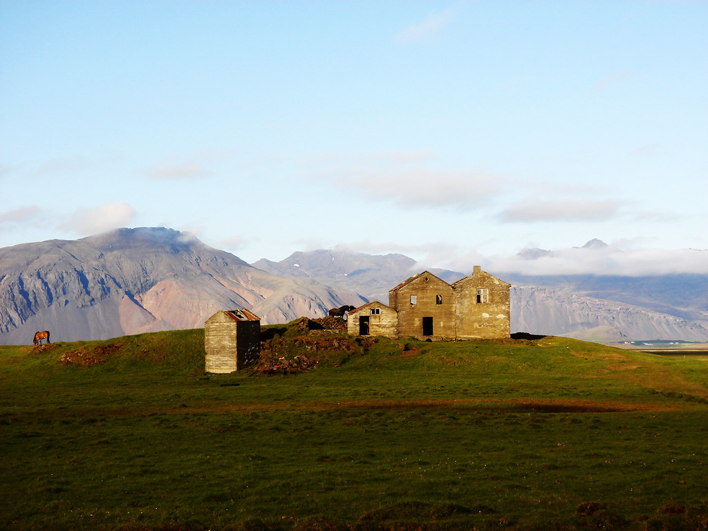 Abandoned farm with a few horses