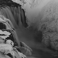 Part of Gullfoss, Iceland took it on short time. (arnthorr) Tags: winter blackandwhite bw ice water waterfall iceland frost ar clips calm spray whiteriver foss runningwater gullfoss sland  islande snjr vetur frosen fossar s hvt suurland arnr goldenwaterfall arnthor i rfarvegur arnthorr arnrragnarsson