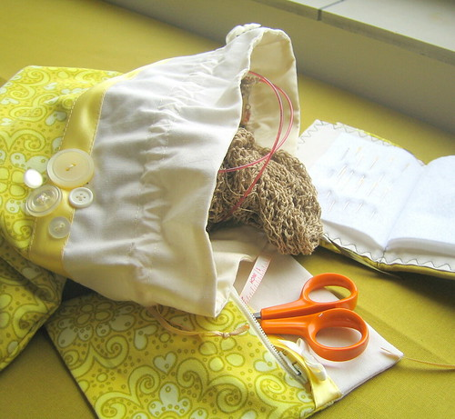 Craft pouches and needle book in action