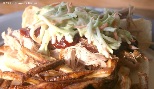 Pulled Pork with Barbeque Sauce, Slaw and Oven Fries