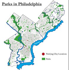 A Map of Green Spaces in Philadelphia and Parking Day 2008 Sites