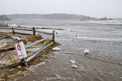 High Tide Storm Surge (brucetopher) Tags: tidal storm surge weather stormsurge tide water ocean sea snow blizzard saltwater bay north atlantic waves surf erosion flood flooding flooded beach fence road parkinglot