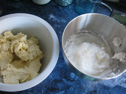 dough and egg whites