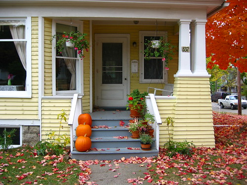 Yellow House Porch in the Fall