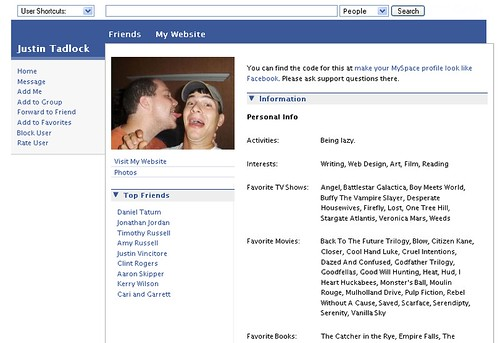 facebook myspace theme