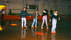 Four skaters (liberrian) Tags: birthday party disco january 80s skate scanned roller rink 1994 rte100 emmaushighschool