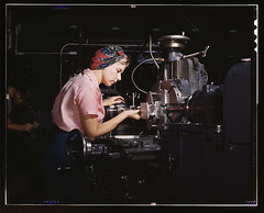 "Women become skilled shop technicians after careful training in the school at the Douglas Aircraft Company plant, Long Beach, Calif. Most important of the many types of aircraft made at this plant are the B-17F (""Flying Fortress"") heavy bomber, the A-20 ("