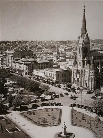 Vintage Photo of Plaza San Martín and Catedral de los Santos Pedro y Cecilia, Mar del Plata, Argentina by rodrimdq on Flickr