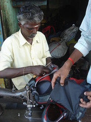 tamil tailor fixing my pack