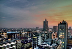 milan sunset hdr (jodi_tripp) Tags: sunset italy milan skyscraper bulidings europe2005 redone cityscpae joditripp challengeyouwinner wwwjoditrippcom endofourtrip photographybyjodtripp