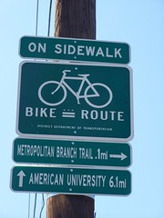 Bike route sign showing a kind of hierarchy of routes