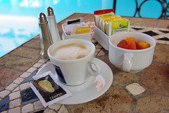 Breakfast (tomtor) Tags: blue cup water coffee fruit breakfast table pepper tea salt tenerife pentaxk10d