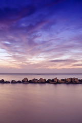 10 Seconds (Khaled A.K) Tags: longexposure sea seascape clouds photography rocks purple jeddah saudiarabia khaled waterscape ksa    jiddah    mywinners   platinumphoto mosscolorfilter