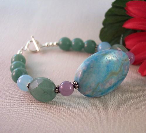 Le Printemps- Turquoise Jasper Lepidolite Larimar Aventurine Sterling Toggle Clasp Bracelet