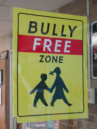 "Sign posted at a school that reads ""Bully-Free Zone."" School bullying led to the suicide of Phoebe Prince, a 15-year-old freshman at South Hadley High School in Massachusetts."