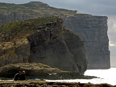 Malta, Dwerja cliffs (pho_kus) Tags: sea reflection clouds couple malta cliffs dwerja
