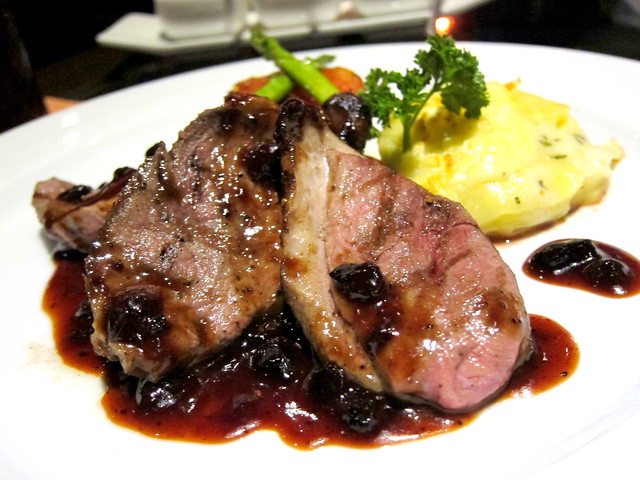 Pan Seared Duck Breast with Blue Berry Sauce and Scalloped Potatoes