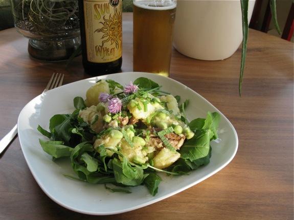 arugula smashed potato salad herbs 004