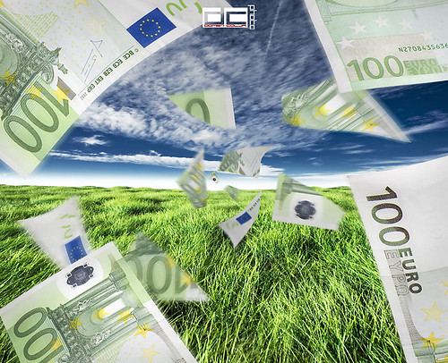 Bank currency integrated into background images for dramatic photo effect