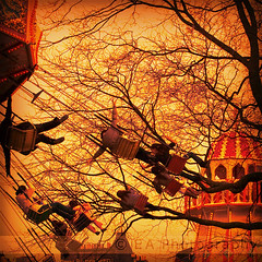 Dusk Flight (Scottish Snapper) Tags: trees people fun flying edinburgh fairground action christmaseve wintermarket