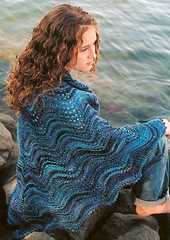 Shoalwater Shawl shown in Wool in the Woods Cherub