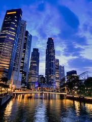 Cavenagh Bridge (espion) Tags: city wet night river lights evening singapore skyscrapers dusk 100v10f cbd hdr cavenaghbridge 1000v fm20024 2008fav hdrselect