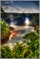 Peeking (Kaj Bjurman) Tags: trees brazil sky green water clouds boats eos waterfall do iguazu hdr foz kaj cs3 photomatix 40d betterthangood bjurman