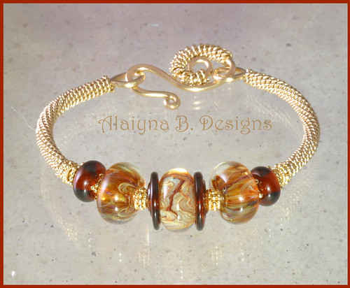 Golden Girl - Lampwork Boro, Gold Vermeil and 14kt Gold Filled Wire Wrapped Bangle Bracelet