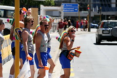 Border control (A Different Perspective) Tags: blue newzealand party woman man colour face fun glasses costume rainbow rugby candid text group dressup moustache mexican wellington shorts sombrero 2008 sevens nzi nzisevens adp:posted=2008