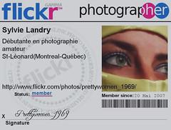 Membre Flickr prettywomen_1969 (Sylvie.Landry) Tags: photo sylvie flickr moi yeux pro carte membre creativephoto prettywomen1969