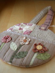Round Flower Bag - front (PatchworkPottery) Tags: flower bag leaf quilt handmade sewing crafts country fabric round button quilted patchwork shoulder applique handbag zakka