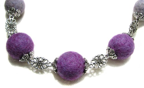 Fancy Purple Felt Bead Necklace :: Close Up