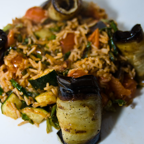 Aubergines with Mixed Vegetable Rice